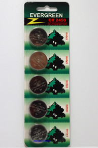 EVERGREEN CR2450 Lithium Coin Cell Battery 3V in blister card of 5