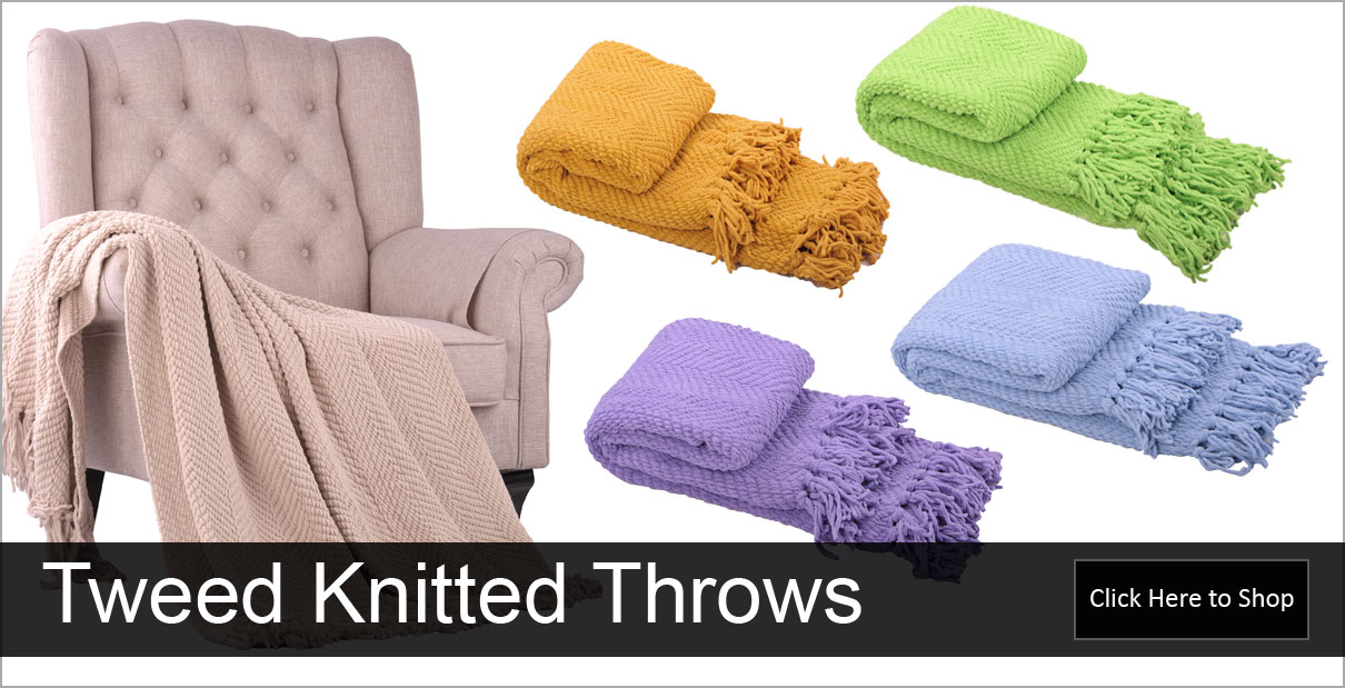 Tweed Knitted Throw Blankets