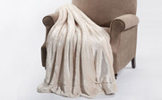 Beige Plain Faux Fur Throw Blanket