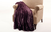 Blackberry Wine Plain Faux Fur Throw Blanket