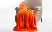 Burnt Orange Plain Faux Fur Throw Blanket