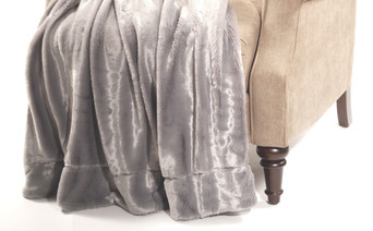 Silver Plain Faux Fur Throw Blanket