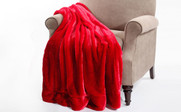 Chili Pepper Red Plain Faux Fur Throw Blanket