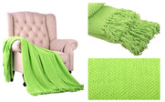 Green Flash Knitted Tweed Throw Blanket