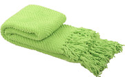 Green Flash Knitted Tweed Throw Folded