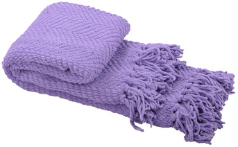 Paisley Purple Knitted Tweed Throw Folded