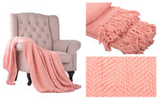 Peach Melba Knitted Tweed Throw Blanket