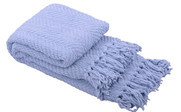 Forever Blue Knitted Tweed Throw Folded