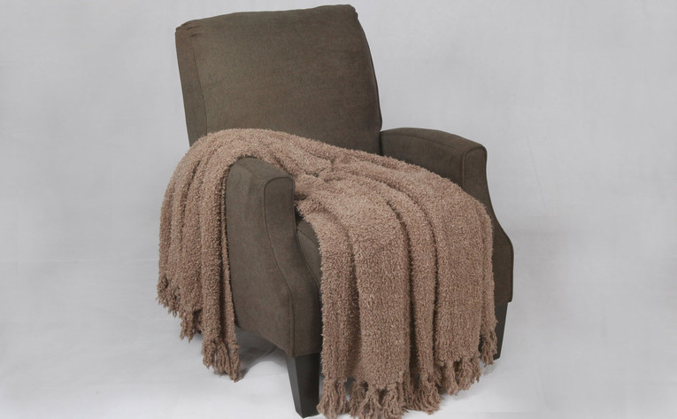 Amphora Brown Fluffy Knitted Throw
