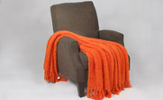 Burnt Orange Fluffy Knitted Throw