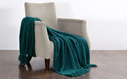 Dark Teal Fluffy Knitted Throw