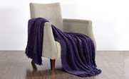 Indigo Fluffy Knitted Throw