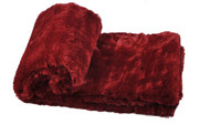 Double Sided Faux Fur Oversized Throws Chili Red Roll