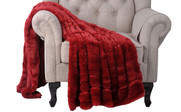 Double Sided Faux Fur Oversized Throws Chili Red