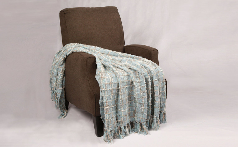 Grey Blue Multi-Color Chenille Throw