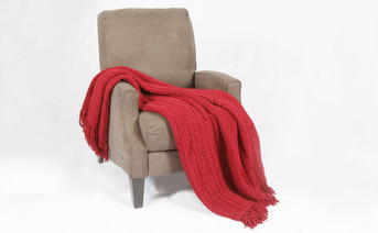 Burgundy Space Yarn Knitted Throw