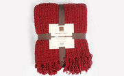 Burgundy Space Yarn Knitted Throw Retail Packaging