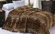 ML Natural Leopard Animal Nature Faux Fur & Sherpa Backing Blanket