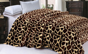 Giraffe Animal Nature Faux Fur & Sherpa Backing Blanket