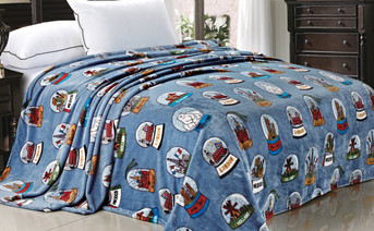 Blue Cities of the World Flannel Fleece Blanket