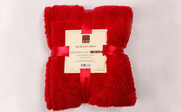 Chili Pepper Red Herringbone Brushed Faux Fur Throw Package