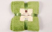 Dark Citron Green Herringbone Brushed Faux Fur Throw Package