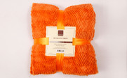 Burnt Orange Herringbone Brushed Faux Fur Throw Package