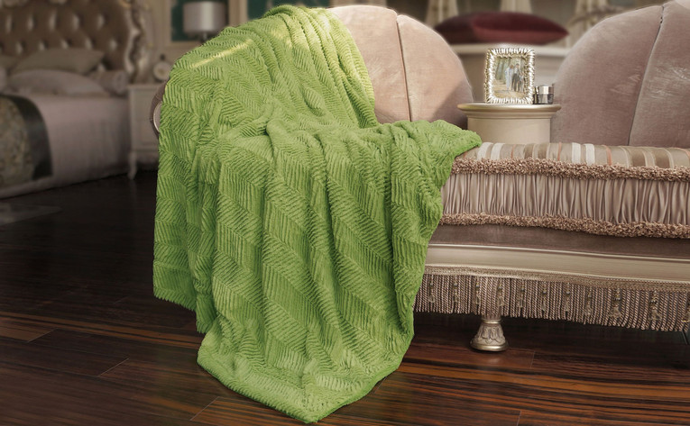 Dark Citron Green Herringbone Brushed Faux Fur Throw