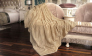 Beige Herringbone Brushed Faux Fur Throw