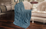 Blue Herringbone Brushed Faux Fur Throw