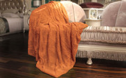 Burnt Orange Herringbone Brushed Faux Fur Throw