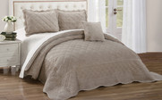 Oatmeal Supersoft Microplush Quilted 4 Piece Bed Spread Set