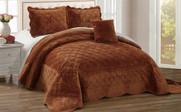 Brick Supersoft Microplush Quilted 4 Piece Bed Spread Set