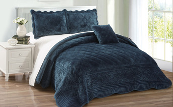 Blue Sapphire Supersoft Microplush Quilted 4 Piece Bed Spread Set