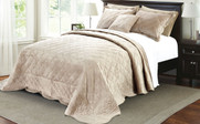 Beige Supersoft Microplush Quilted Bedspreads Side