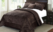 Chocolate Supersoft Microplush Quilted Bedspreads