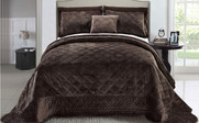 Chocolate Supersoft Microplush Quilted Bedspreads Front