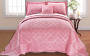 Pink Supersoft Microplush Quilted Bedspreads Front