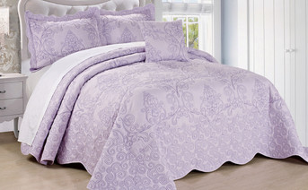 Lavender Fog Damask Embroidered Quilted Bedspread