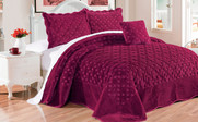 Burgundy Tatami Quilted Faux Fur 4 Piece Bed Spread Set