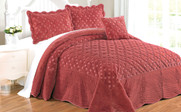 Dusty Cedar Tatami Quilted Faux Fur Bed Spread Set