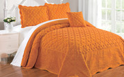 Apricot Tatami Quilted Faux Fur Bed Spread Set