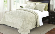 Light Green Tatami Quilted Faux Fur Bedspread