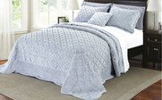 Grey Tatami Quilted Faux Fur Bedspread