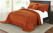 Burnt Orange Tatami Quilted Faux Fur Bedspread