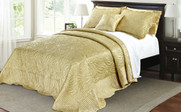 Gold Quilted Satin Bed Spread