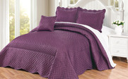 Prune Purple Matte Satin Quilted Bedspread