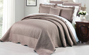 Taupe Matte Satin Quilted Bedspread