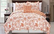 Orange Paisley Flower Reversible Quilted Bedspreads
