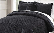 Jet Black Diamond Square Quilted Coverlet Bedspread Collection